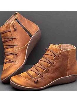Vintage Bandage Flat Ankle Boots