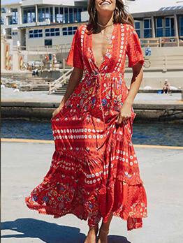 Bohemian v Neck National Printed Casual Maxi Dresses