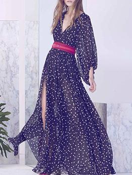 Polka Dots Slit Long Sleeve Sexy Maxi Dresses