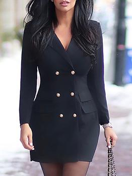 Single-Breasted Solid Women Blazer Dress