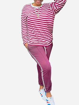Easy Matching Striped 2 Piece Ladies Sportswear