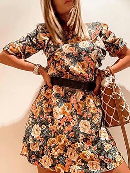 Slim Ruffled Hem Long Sleeve Floral Dress