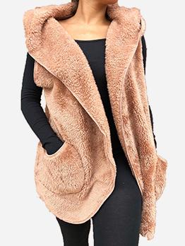 Hooded Lambswool Sleeveless Long Coat