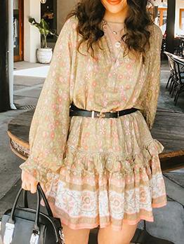 Stylish StringySelvedgeLong Sleeve Floral Dress