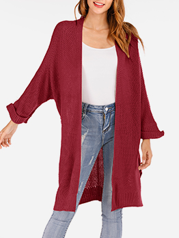 Minimalist Solid Color Long Knit Cardigan For Autumn