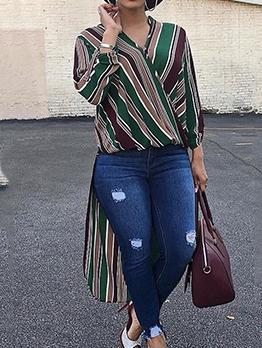 Stitching Color Striped High Low Hem Long T Shirt