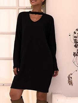 Keyhole V Neck Loose Black Long Sleeve Dress