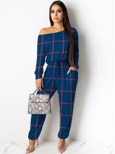 Printed Drawstring Long Sleeve Jumpsuit