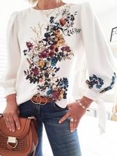 Printed Long Sleeve White Blouse