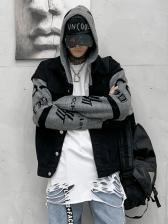 Hip-Pop Letter Printed Loose Jackets For Men