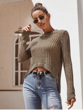 Irregular Hollow Pure Color Cropped Sweater