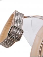 Rhinestone Transparent Pointed Heel Sandal
