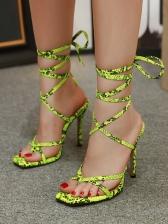 Snake Printed Bandage Peep Toe Heel Sandals