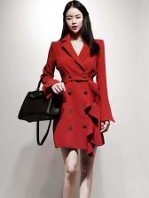 Office Ladies Button Up Ruffles Detail Red Blazer Dress