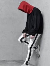 Sporty Contrast Color Fitted Jogger Pants