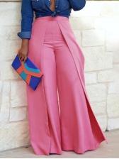 Mid Waist Patchwork Loose Pink Wide Leg Pants