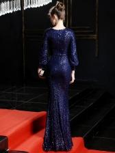 Boutique Deep V Neck Split Hem Sequin Evening Maxi Dress