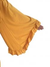 Plus Size Tie Bow Ruffles 2 Piece Flare Pants Set