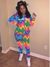 Multicolored Patchwork Hooded Women 2 Piece Tracksuit