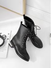 Pearl Heel Bandage Black Boots