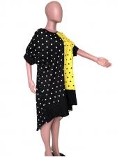 Stylish Polka Dots Patchwork High-Low Midi Dress