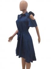 Solid Ruffled Cut-In Short Sleeve Denim Dress