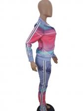 Gradient Color Patchwork Turndown Neck 2 Piece Outfits