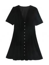 V Neck Single-Breasted Velvet Black Short Sleeve Dress