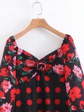 Retro Rose Polka Dots Printed Midi Dress