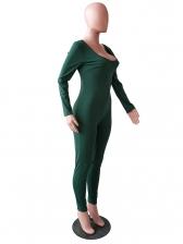 Sexy Scoop Neck Skinny Long Sleeve Jumpsuit