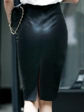 Plus Size Knee Length Black Pu High Waisted Skirt