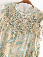 StringySelvedgeLace Printed Sleeveless Dress