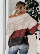 Autumn Stitching Color Knitted Off The Shoulder Sweater