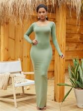 Fashion Crew Neck Bodycon Long Dresses