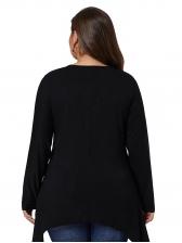 Irregular Hem Hollow Out Black Plus Size T Shirt