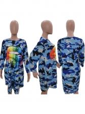 Pocket Long Sleeve Camouflage T-shirt Dresses