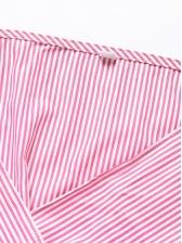 Fashion Tie-Wrap Striped Long Sleeve Midi Dress