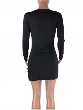 Deep V Neck Hollow Out Black Long Sleeve Dress