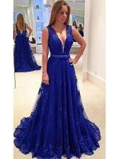 Backless Large Hem Navy Lace Evening Dress