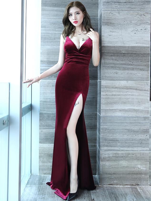 Deep V Neck High Split Hem Long Formal Dress