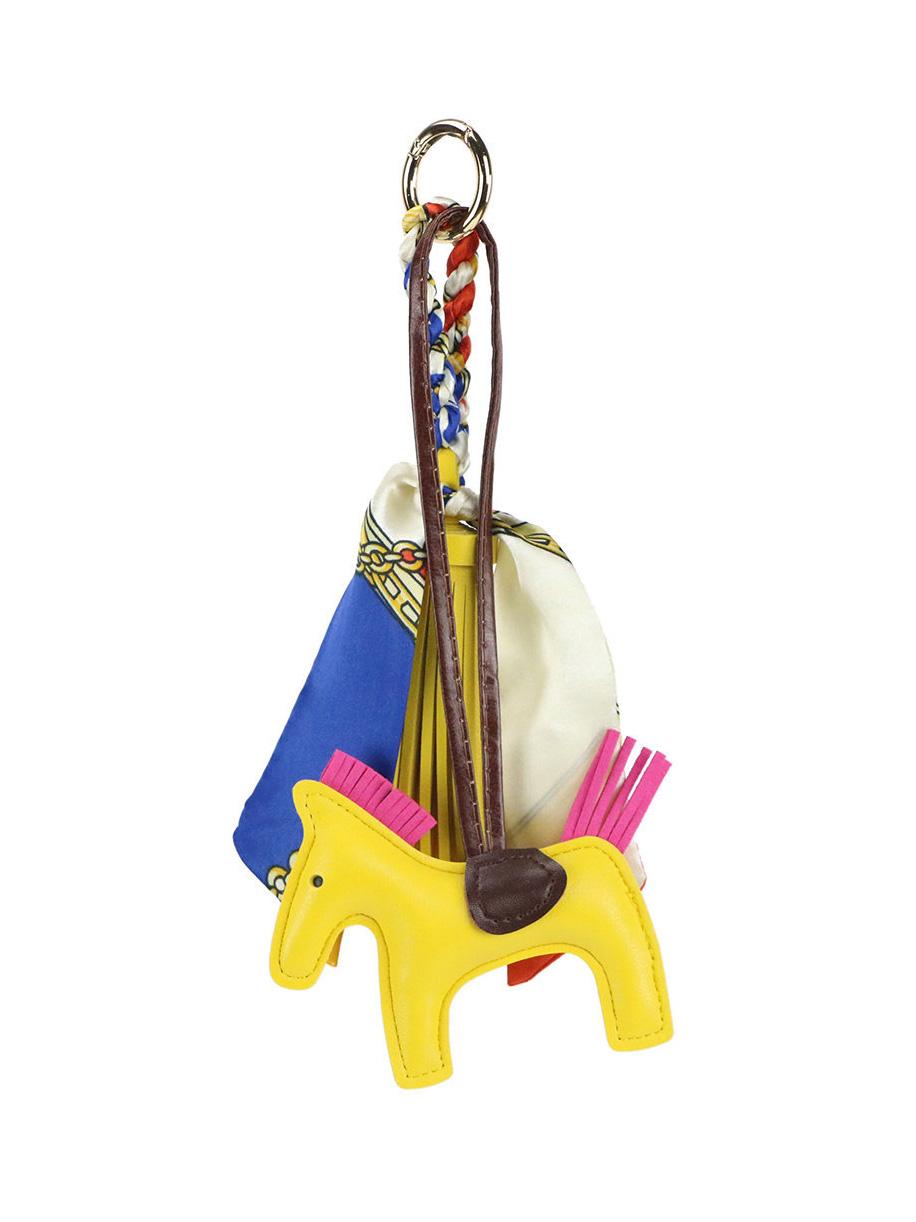 Pony Silk Scarf Leather Tassels Pendant