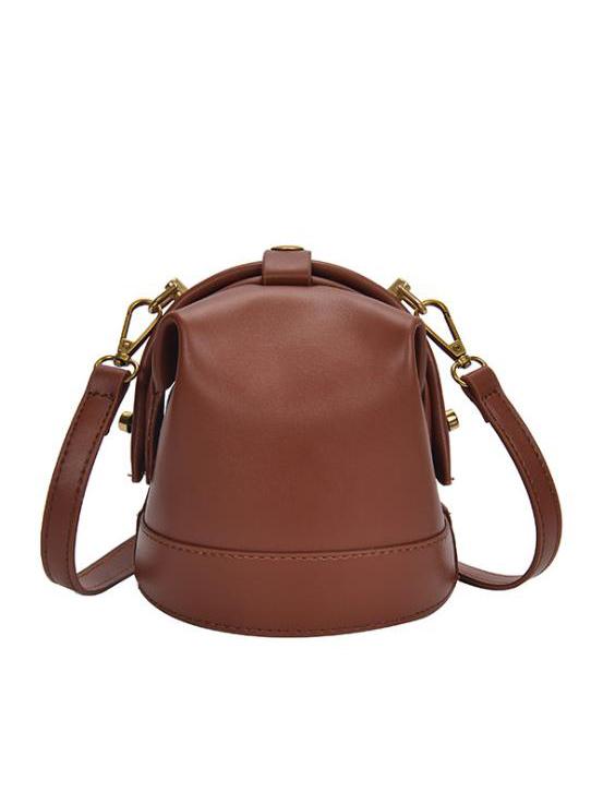 Solid Color Detachable Belt Women Pu Bucket Bag