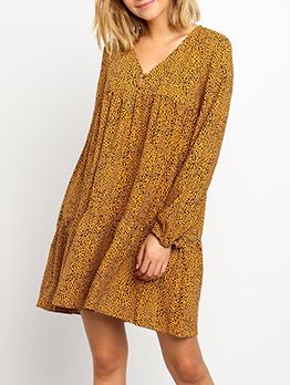 Casual Loose Dots Long Sleeve Dress