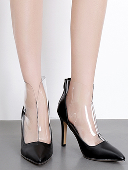 Patchwork Transparent Stiletto Womens Ankle Boots