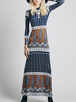 High Neck Long Sleeve Printed Maxi Dress