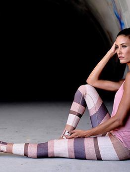 Contrast Color High Waist Women Yoga Pants