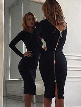 Zipper Up Long Sleeve Solid Dress