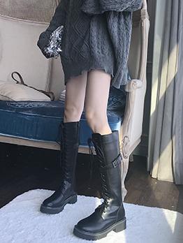 Matt Bandage Buckle Strap Mid Calf Boots