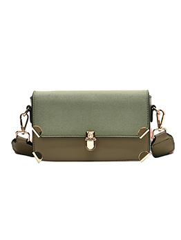 Casual Striped Wide Belt Matt Square Crossbody Bags