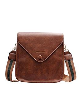 Square Design Letter Belt Solid Pu Shoulder Bag